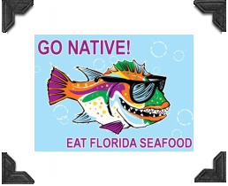 colorful fish wearing sunglasses ad for go native florida seafood
