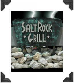 advertisement sign for salt rock grill on indian shores fl