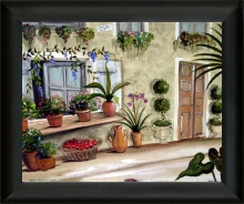 august by betsi burgess, painting of plants, flowers outside a door