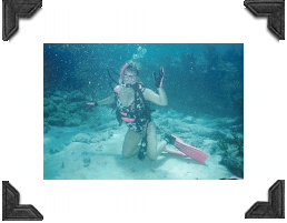 woman scuba diving pink fins and snorkle